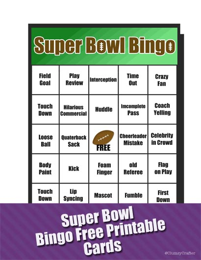 Super bowl bingo printables via clumsy crafter