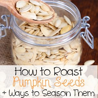 Roasted Pumpkin Seeds Recipe Ideas and how to roast them. Great fall family fun!