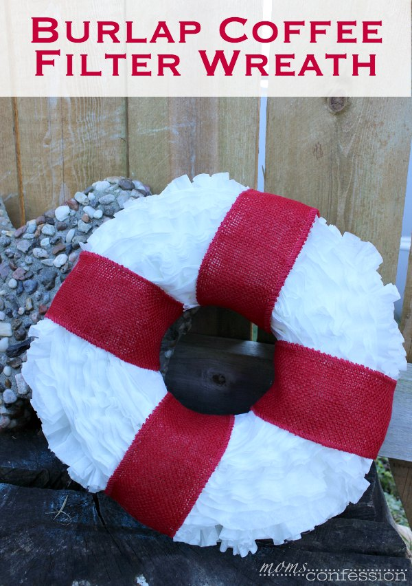 This simple burlap coffee filter wreath is the perfect holiday decor idea for the season. You can't go wrong with this great craft idea this holiday season.