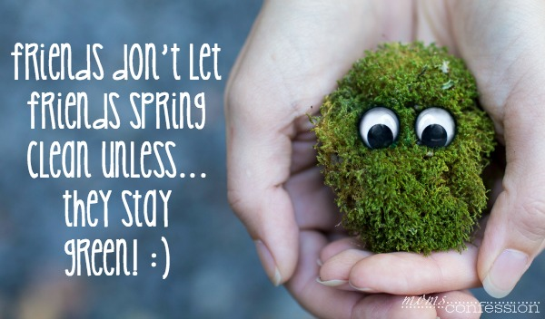 Friends don't let friends spring clean unless...they stay green! | MomsConfession.com