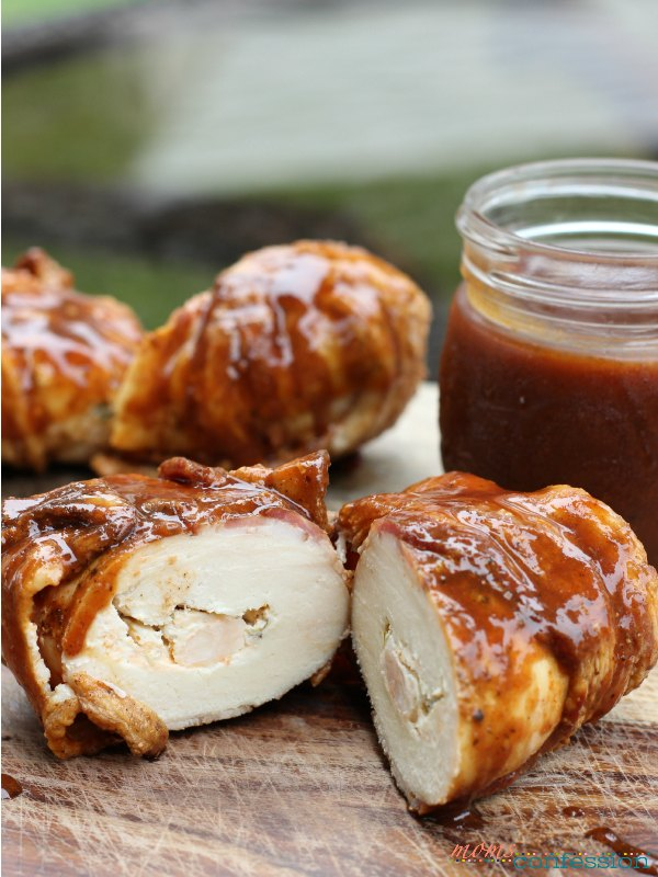 Bacon wrapped chicken with shrimp smotherd with barbeque sauce...so yummy!