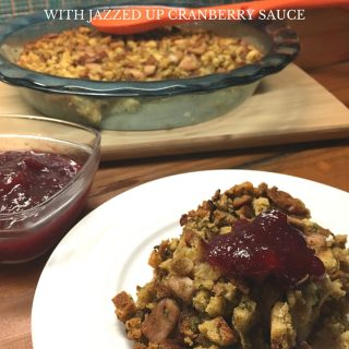 This is the best 30 minute pork stuffing recipe. Serve with our jazzed up cranberry sauce and it's perfect on your Thanksgiving plate!