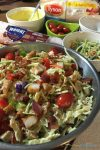 You need this one dish dinner meal solution idea for back to school. This chicken bacon pasta salad is the perfect 20 minute meal idea to start the school year off with an easy family meal.