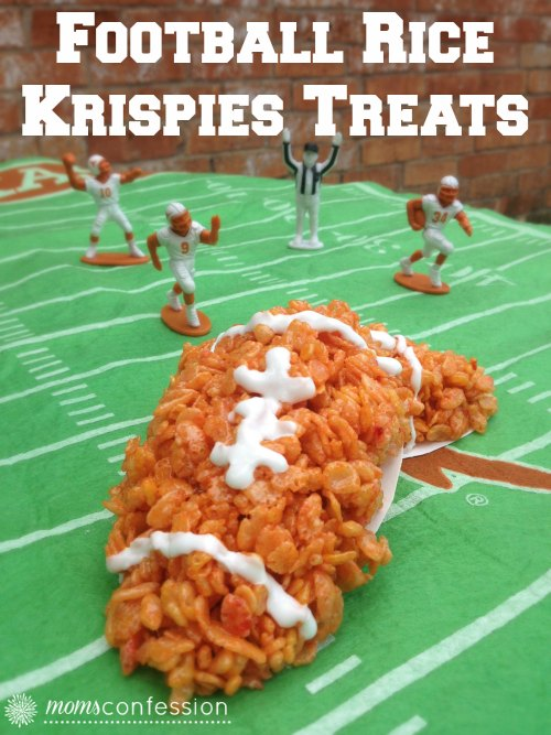 Football Rice Krispies Treats...perfect for game day! | MomsConfession.com