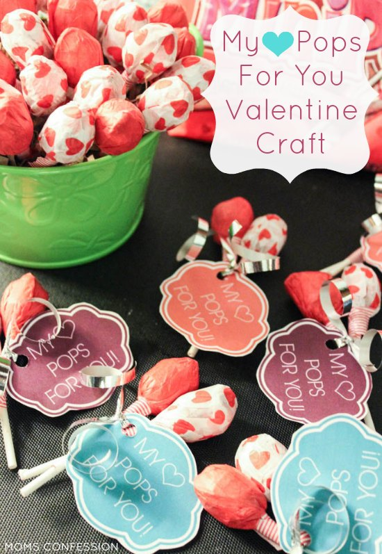 FREE PRINTABLE VALENTINE CRAFT: Does your heart pop for someone? Make these fun Valentine's Day candy suckers with your kids to share with their friends!