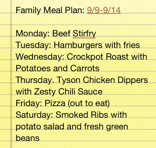 family meal plan idea
