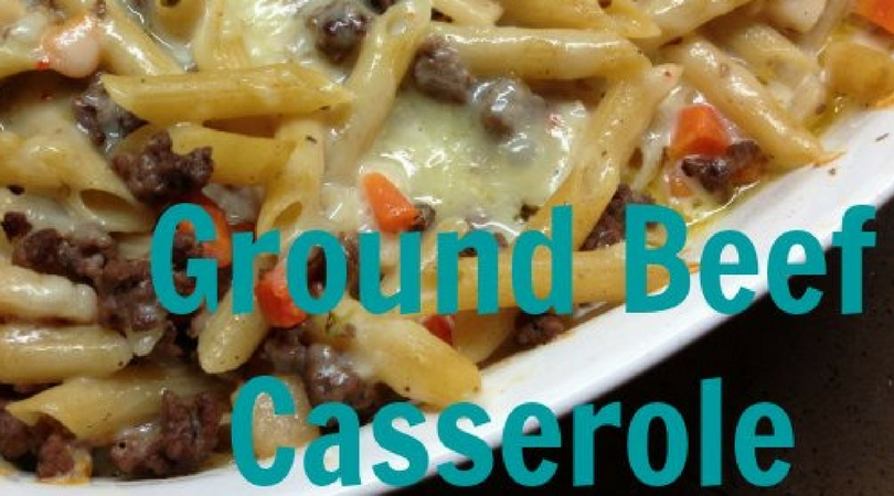close up of ground beef casserole in a dish