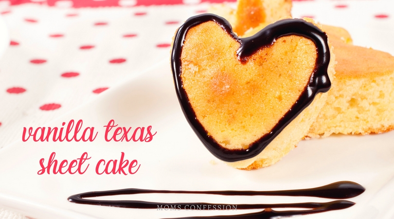Enjoy this tasty twist on the traditional chocolate sheet cake as a vanilla white Texas sheet cake. Who knew you could make something so yummy, more delicious!