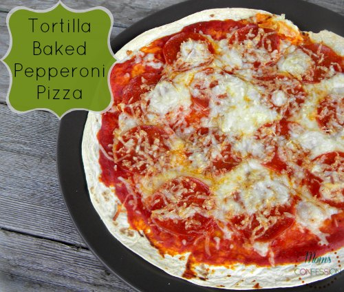 Baked Tortilla Pepperoni Pizza