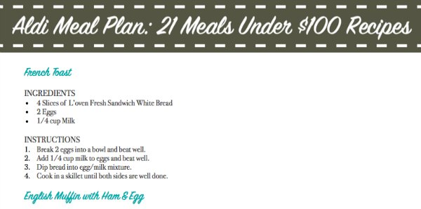 aldi meal plan printable recipe sample