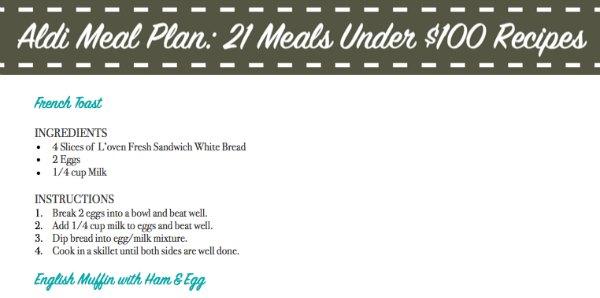 Aldi Meal Plan: 21 Meals Under $100