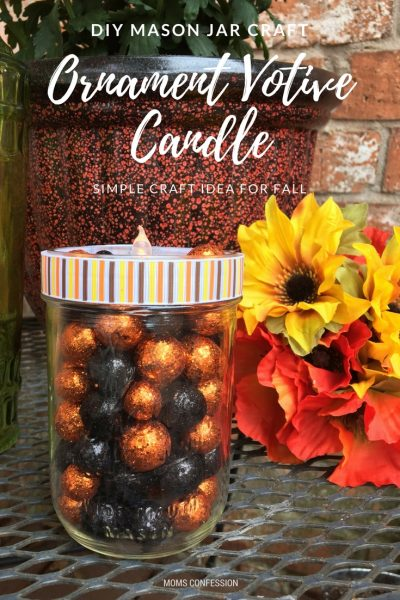 DIY Mason Jar Craft: Ornament Votive Candle for Fall