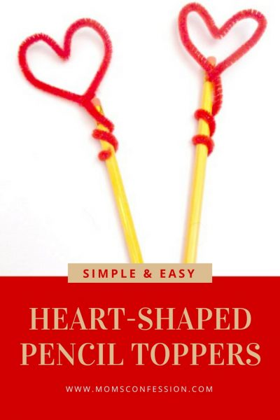 Heart Shaped DIY Pencil Toppers for Valentine's Day