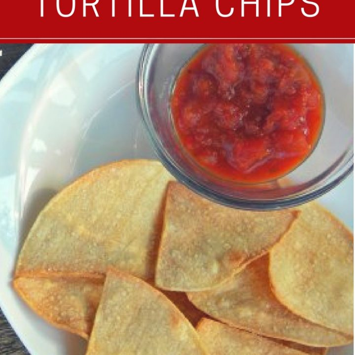 homemade baked tortilla chips with salsa