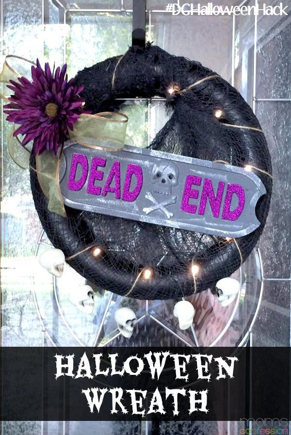 Simple and easy no-glue Halloween Wreath...perfect for my front door!