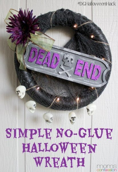 This simple no-glue Halloween wreath is so easy to make and is also completely customizable for your Halloween theme. Make one today, it's so simple!