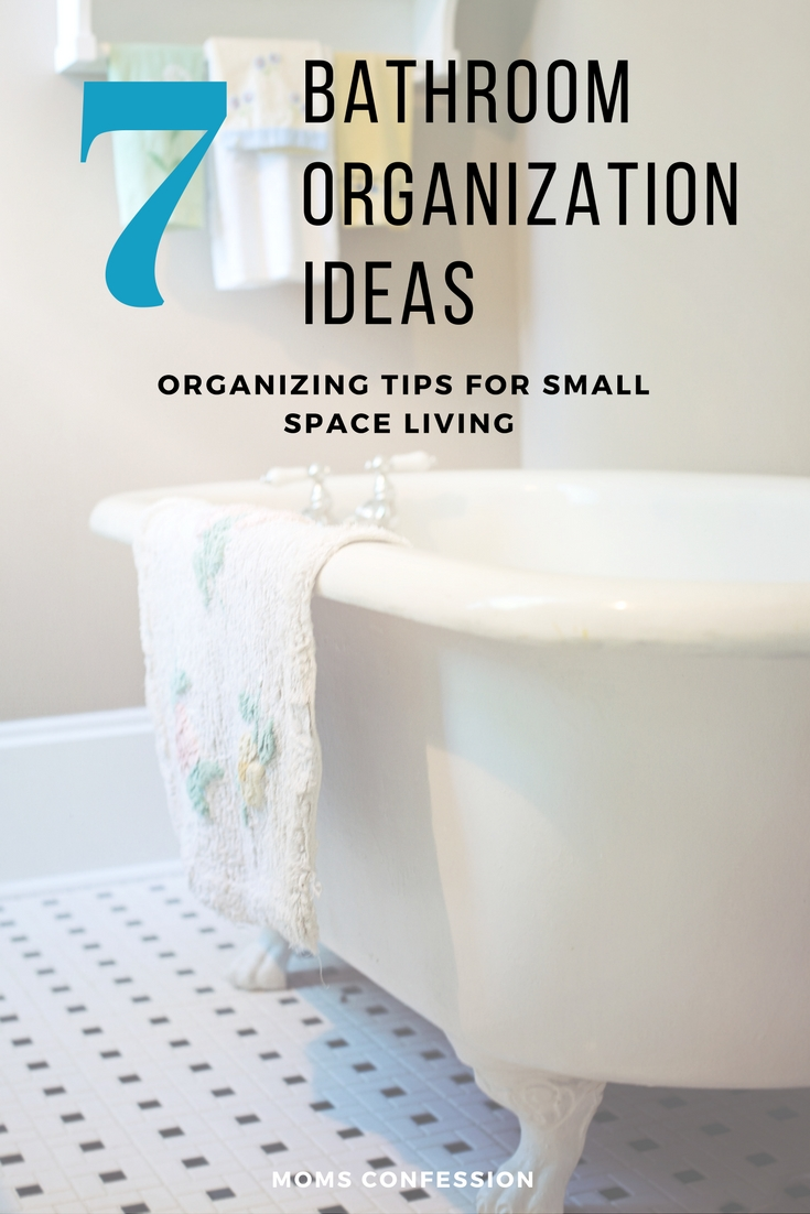 Bathrooms are small spaces, but these 7 bathroom organization ideas will easily help you conquer the clutter that looms in there and also get it clean!