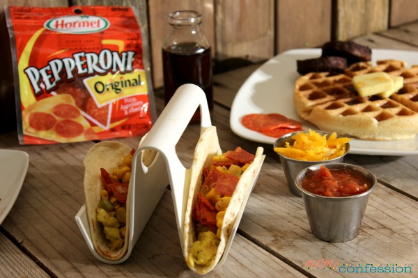 Get the family together and enjoy breakfast for dinner! These Southwest Pepperoni Breakfast Tacos are the perfect treat!