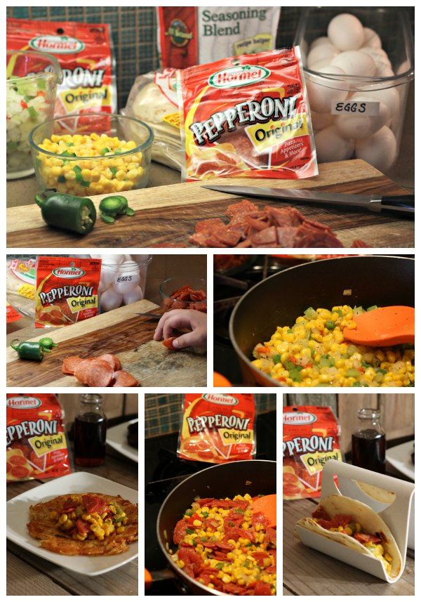 Making southwest pepperoni breakfast tacos and hash browns is easy and they taste delish too!