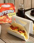 My family has a love love relationship with pepperoni! It's good on everything including these Southwest Pepperoni Breakfast Tacos! Go ahead and grab a bite