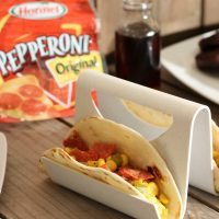 Southwest Pepperoni Breakfast Tacos