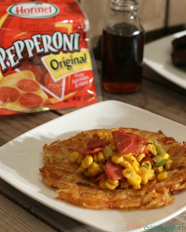 Southwest Pepperoni over waffles, fried eggs, muffins or biscuits (add a little chipotle mustard...yum!) or even hashbrowns! The options are endless when you have part of your meal that can be used on various dishes!