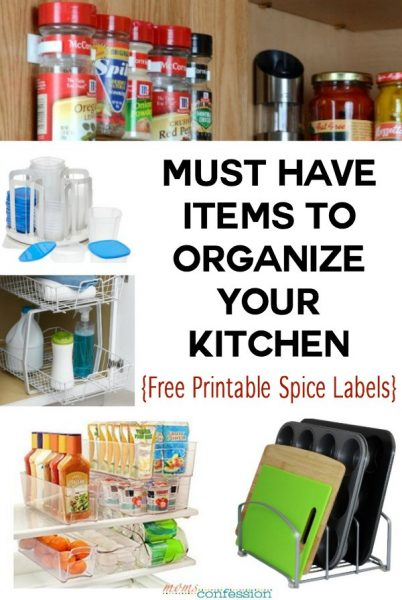 10 Must Have Items to Organize Your Kitchen | No kitchen organization project should go without these items, including the free printable spice labels!