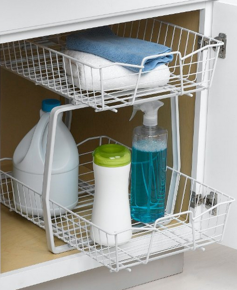 under the sink organizer rack