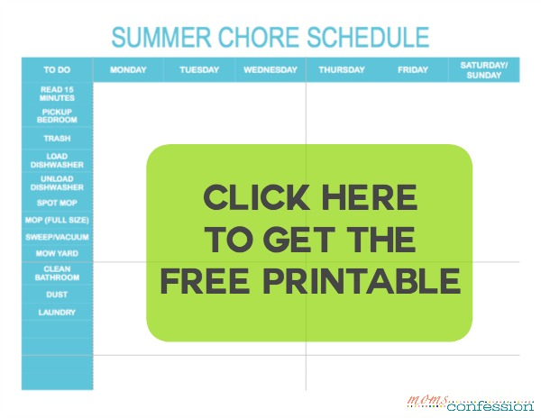 printable summer chore schedule for teens