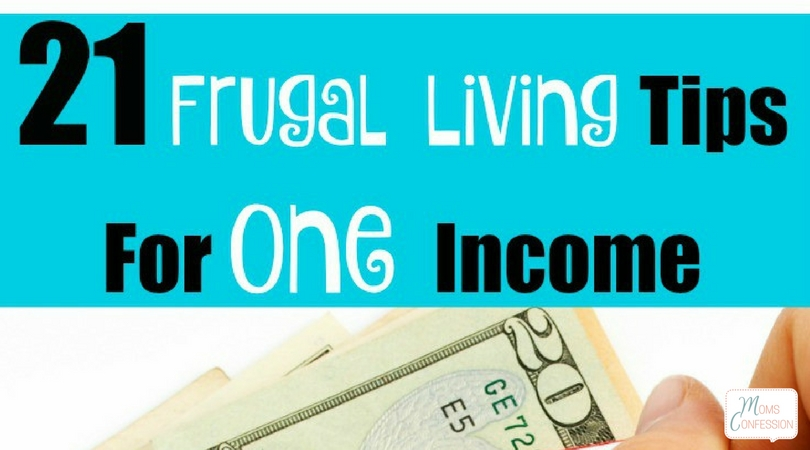 close up of money with frugal living tips for one income written at the top