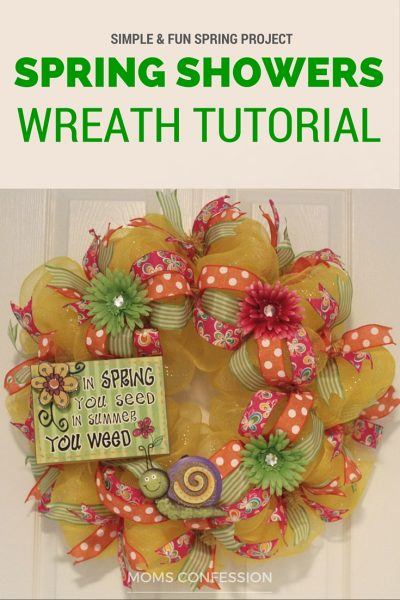 Brighten up that ole' front door of yours in no time with this simple and fun DIY Spring Wreath Home Decor idea! This spring inspired wreath is perfect!