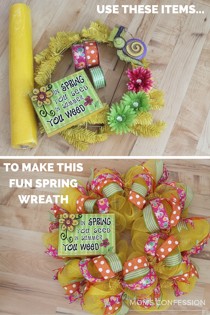 Use these supplies to brighten your door and make this fun spring wreath today!