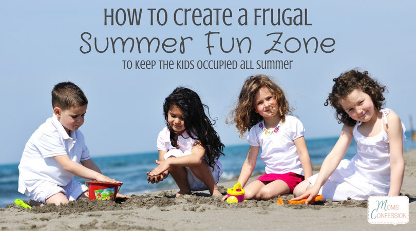 Summer fun is guaranteed with this easy DIY frugal summer fun zone for your backyard! It's ideal for keeping kids busy all summer long & having some fun in the sun!