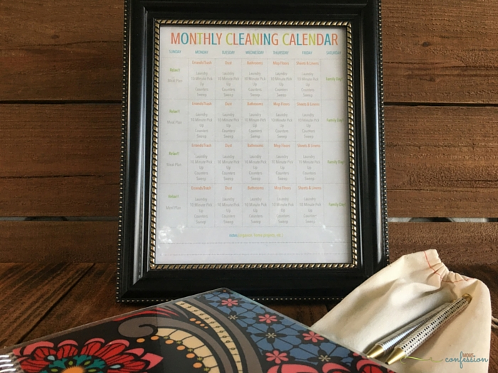 Get your free printable monthly cleaning calendar at Moms Confession and start saving your sanity! Tackle cleaning the house in small tasks each day of the week.