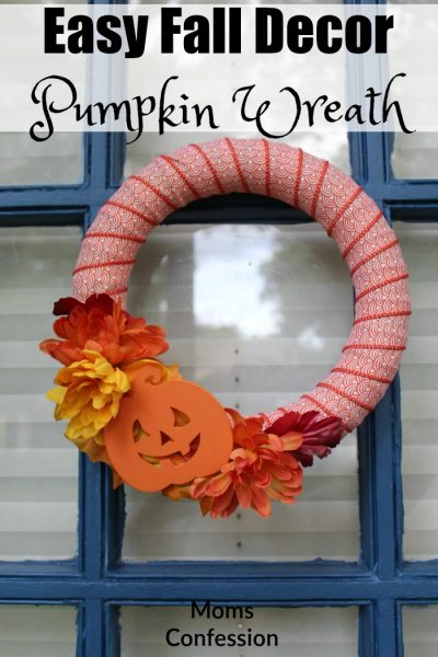 Easy Fall Decor like this Pumpkin Wreath is a great option for making your front door look festive for Fall!