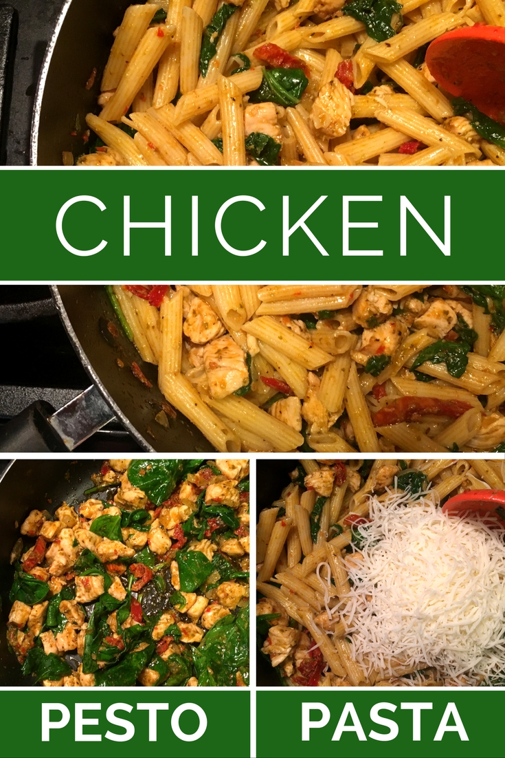 Our Chicken Pesto Pasta Recipe is a favorite easy and flavorful weeknight dish!  Add this to your menu plan for a great veggie filled meal!