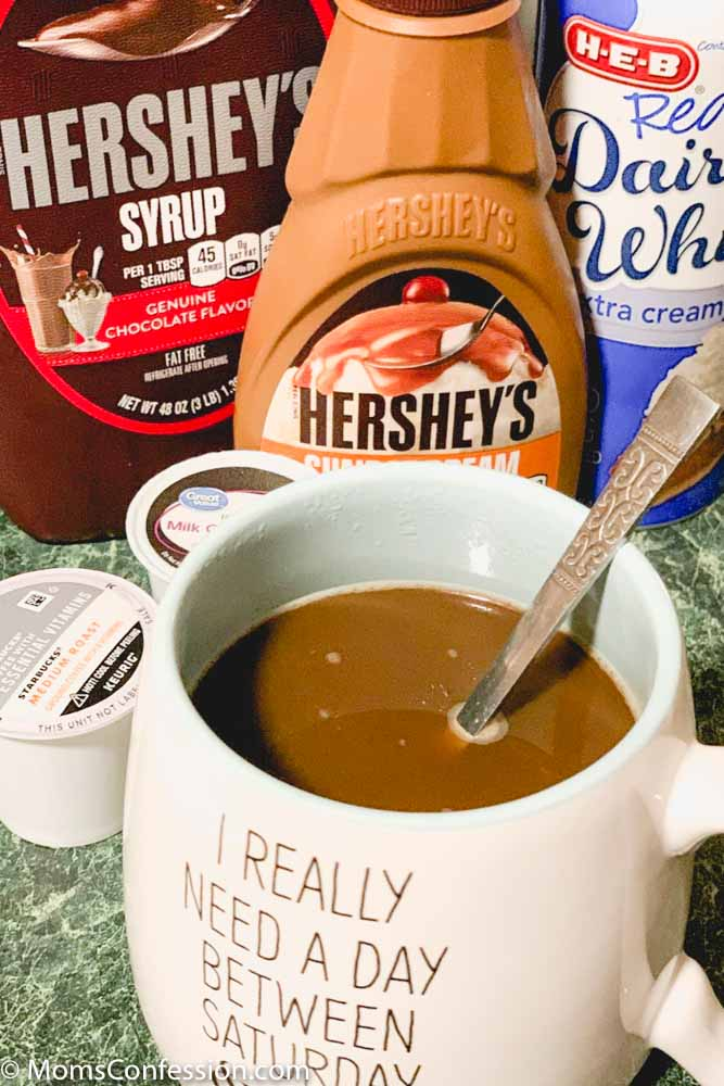closeup of Chocolate Mocha Coffee Recipe ready to enjoy with ingredients in the background