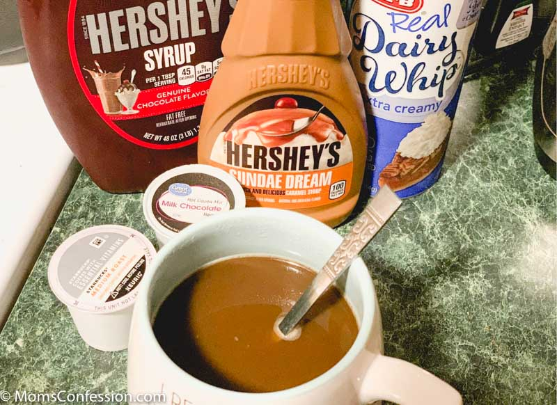 overhead photo of Chocolate Mocha Coffee Recipe ready to enjoy with ingredients in the background