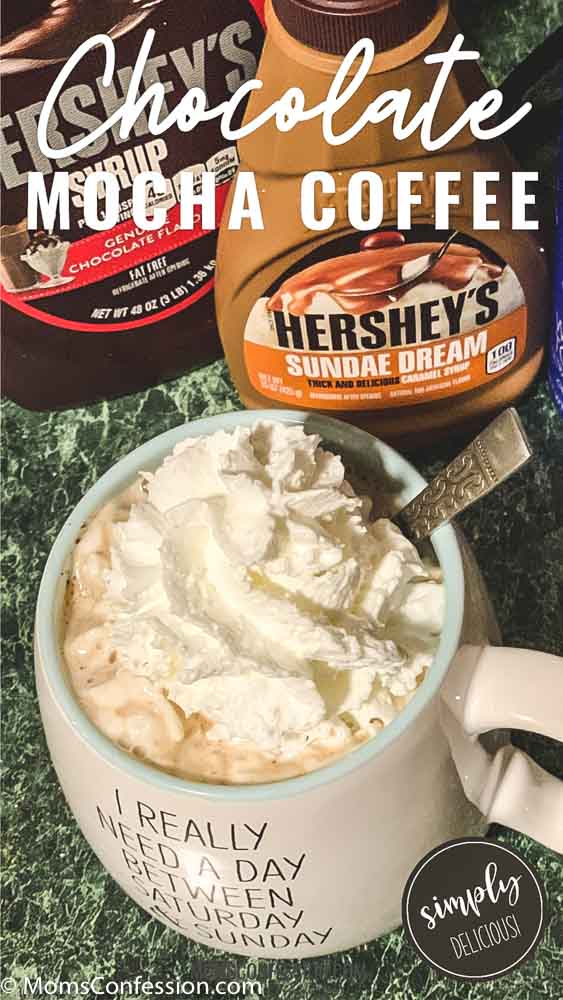 overhead photos of Chocolate Mocha Coffee Recipe ready to enjoy with chocolate and caramel syrup in the background