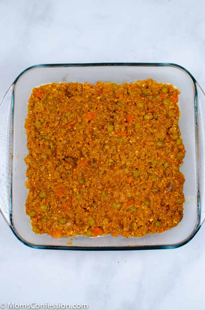 Simple Shepherd's Pie Recipe filling in a square baking dish