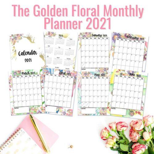 golden floral planner banner