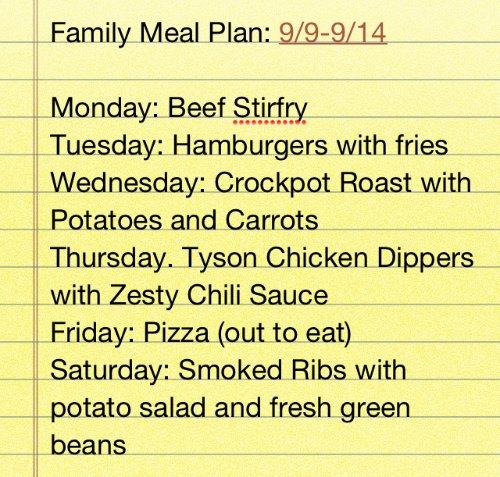 family meal plan idea
